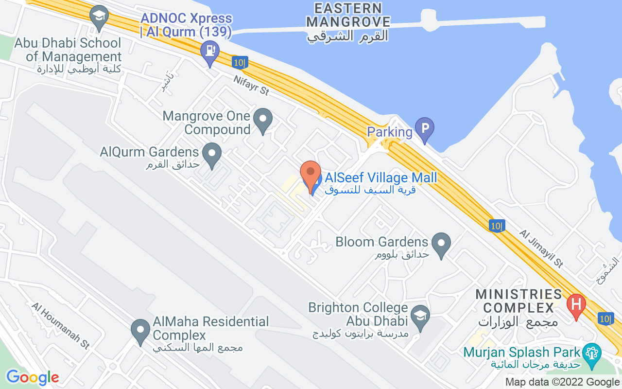 Google Map of 24.4353898571852,54.4558197513034