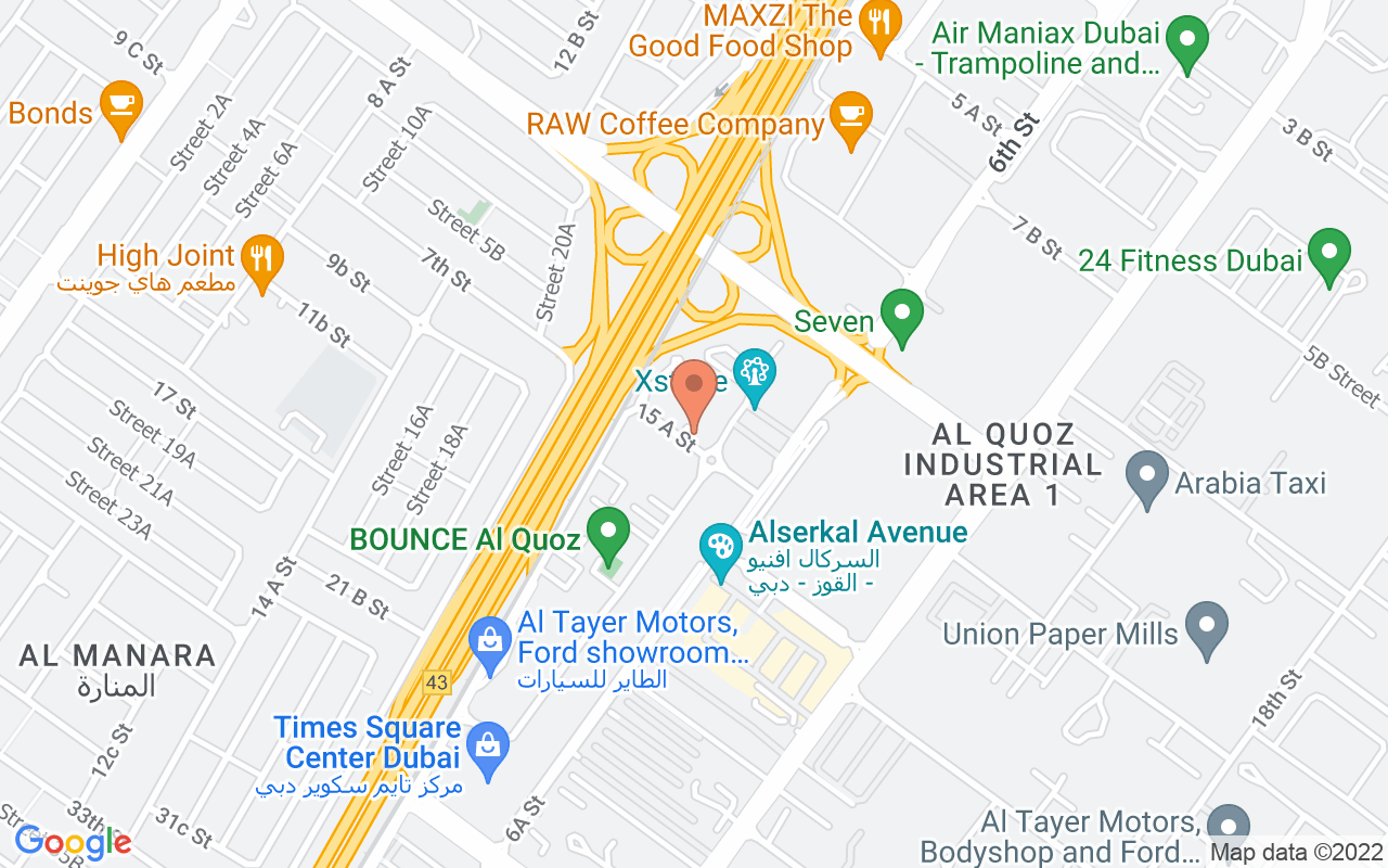 Google Map of 25.14577765603,55.224074