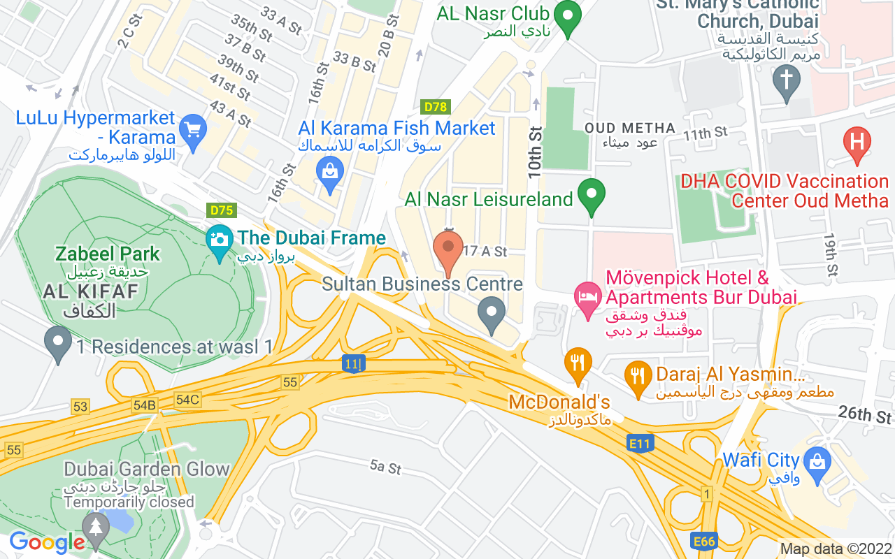 Google Map of 25.2351054426321,55.3073782352761