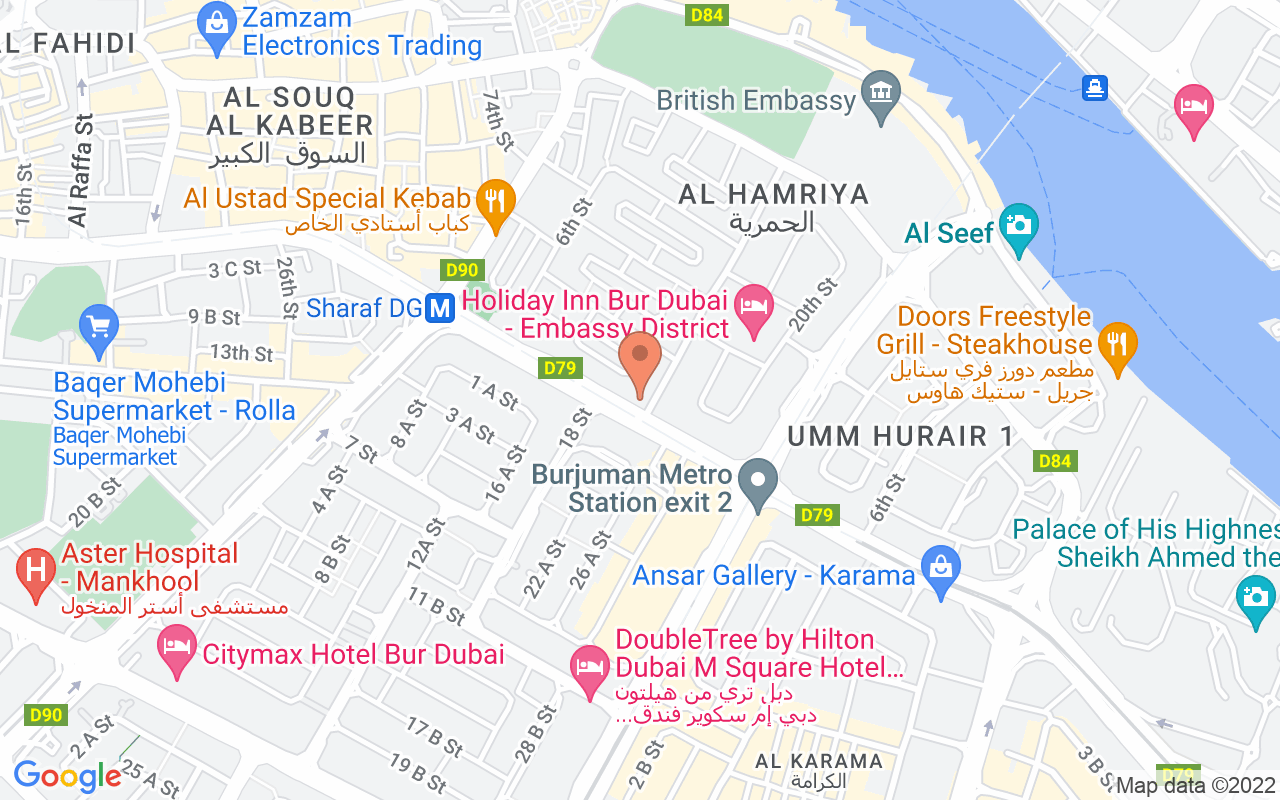 Google Map of 25.2564381,55.301822