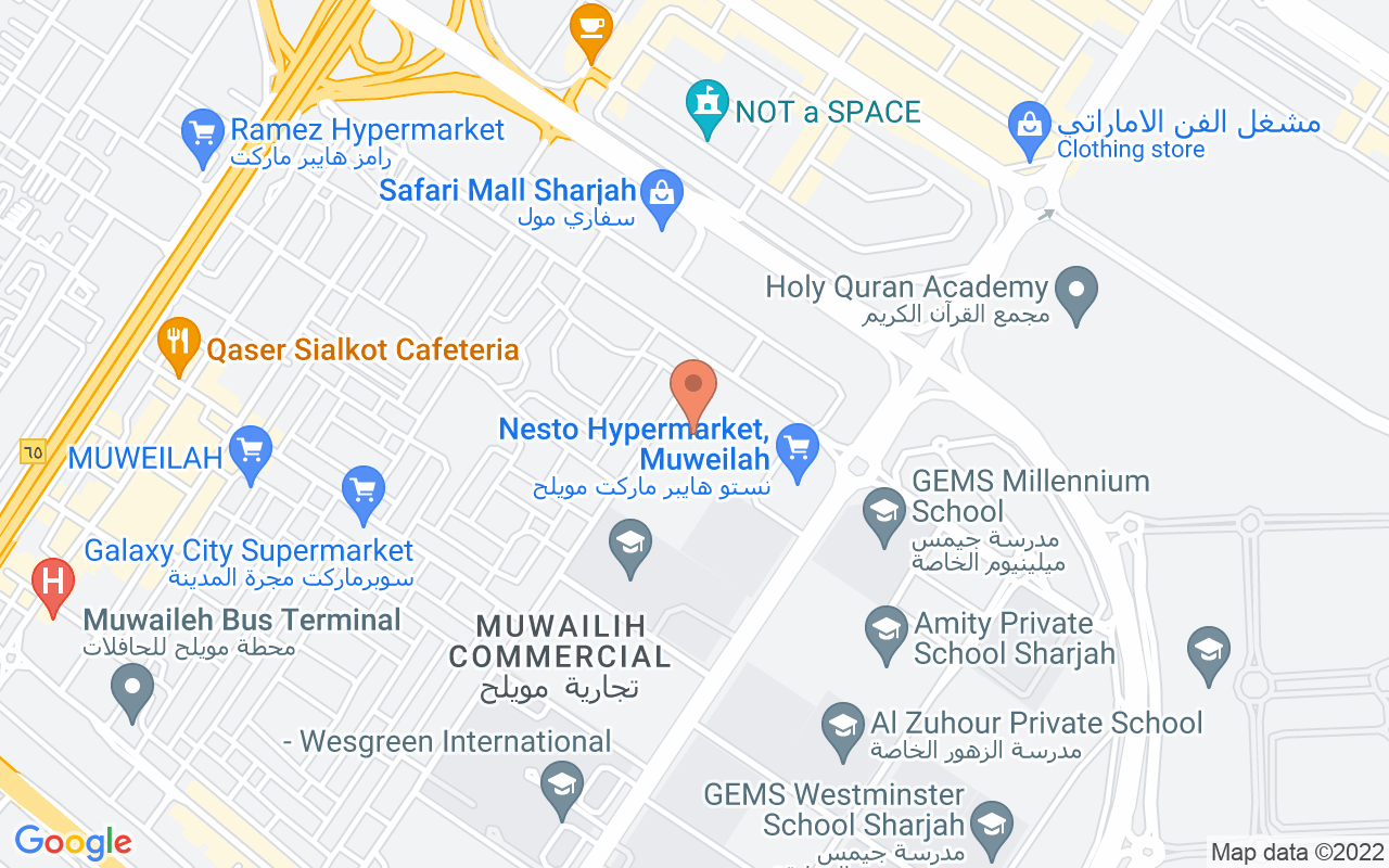 Google Map of 25.3009483,55.4526995